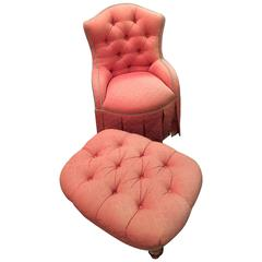 Finely Upholstered Custom Quality Slipper Chair with Matching Ottoman