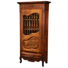 19th Century French Hand-Carved Walnut One Door Cabinet from Provence