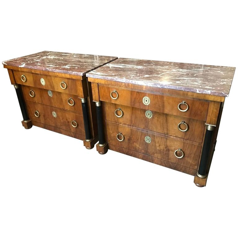 Pair of Elegant Empire Style Chests by Baker 1