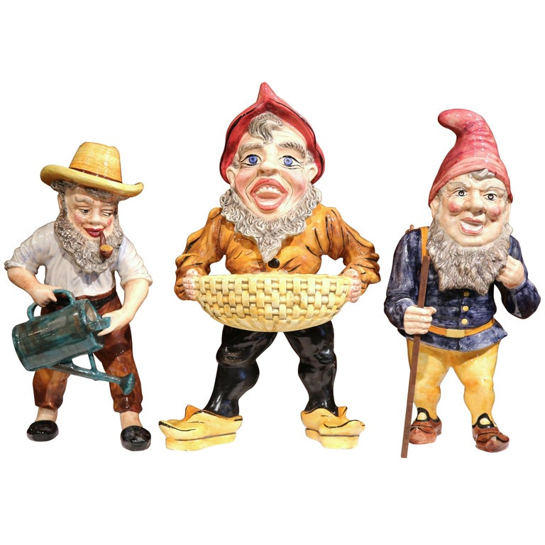 Set of Three Midcentury French Hand-Painted Barbotine Gnomes Figurines