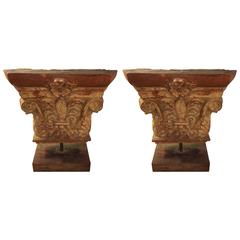 Pair of Antique Architectural Stone Building Tiles Mounted on Stands