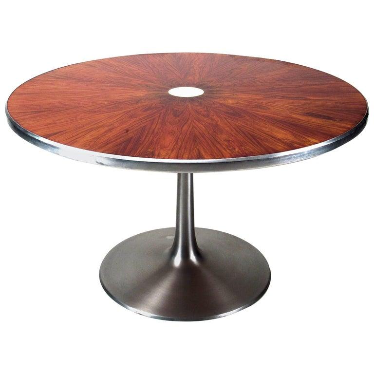 Poul Cadovius Rosewood and Aluminum Pedestal Table, circa 1970