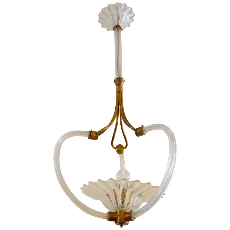 Art Deco Murano Chandelier by Ercole Barovier For Sale