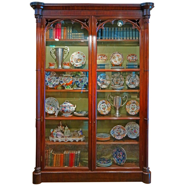 19th century mahogany trophy or book case for sale at 1stdibs. Black Bedroom Furniture Sets. Home Design Ideas