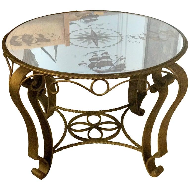 French Nautical Églomisé Mirror Topped Coffee Table, circa 1940