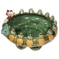 French Hand-Painted Barbotine Dish with Frogs, Flowers and Waterlily