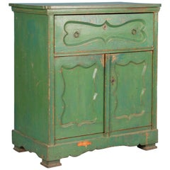 19th Century Antique Sideboard Cabinet from Hungary Painted Green