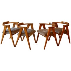 Four Midcentury Modern Compass Chairs