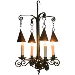 Italian Wrought and Green Painted Iron Four-Light Chandelier, Early 20th Century