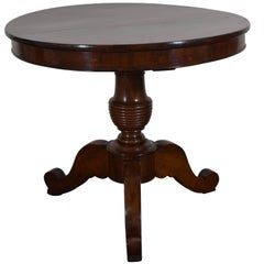 French Louis Philippe Walnut Centre Table with Turned Support, Mid-19th Century