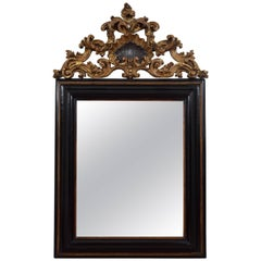 Italian Baroque Ebonized & Carved Giltwood Wall Mirror, Late 17th Century