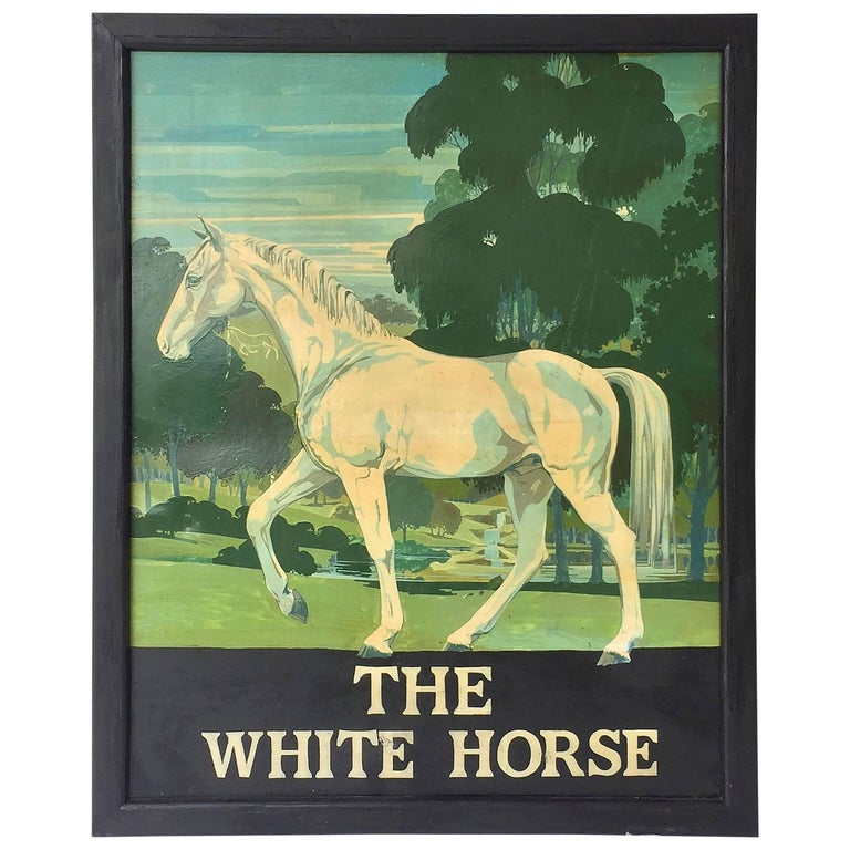 """English Pub Sign """"The White Horse"""" For Sale"""