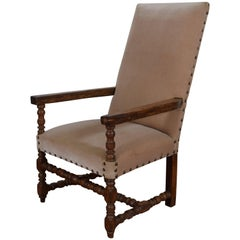 French Walnut and Upholstered Fauteuil, 18th Century