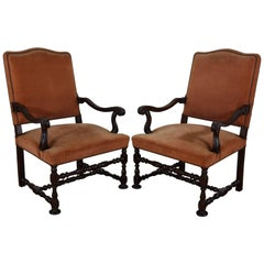 Pair of Early 18th Century Italian Walnut and Upholstered Armchairs