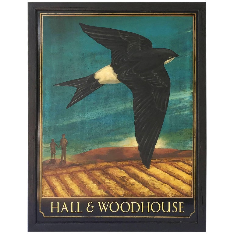 English Pub Sign, Hall & Woodhouse 'Swallow' For Sale