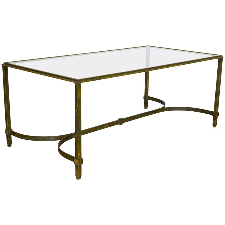 French painted iron and glass top coffee table mid 20th for French glass coffee table