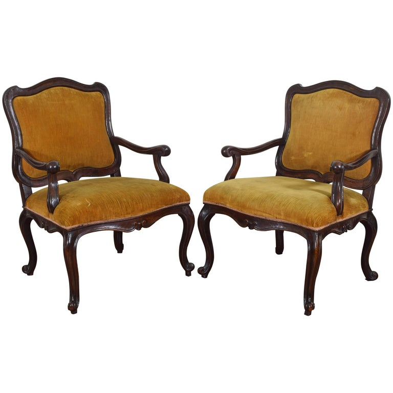 Pair of Mid-18th Century Italian, Piemontese, Walnut Armchairs