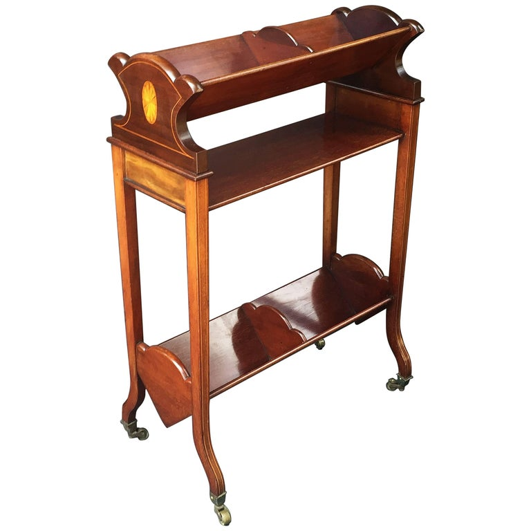 English Bookstand of Inlaid Mahogany from the Edwardian Era For Sale