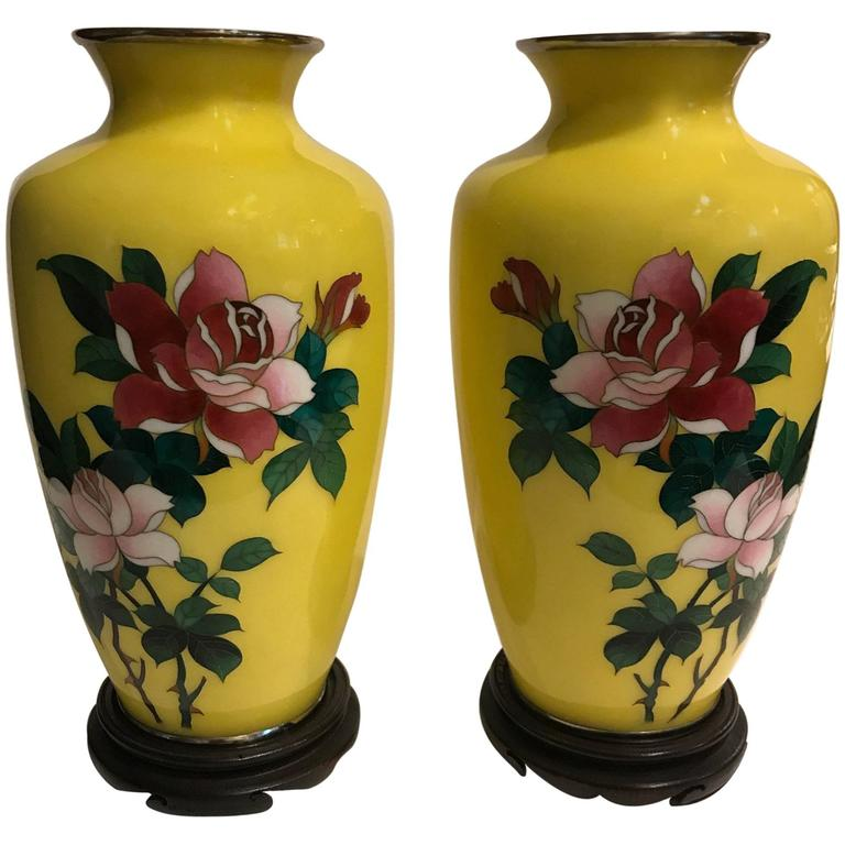 Pair Of Imperial Yellow Sato Period Cloisonne Vases For Sale At 1stdibs
