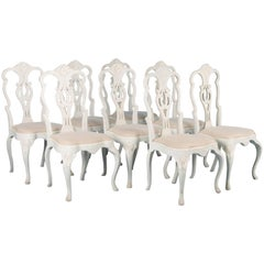 Set of Eight Antique 19th Century, Swedish Gustavian Dining Chairs Painted White