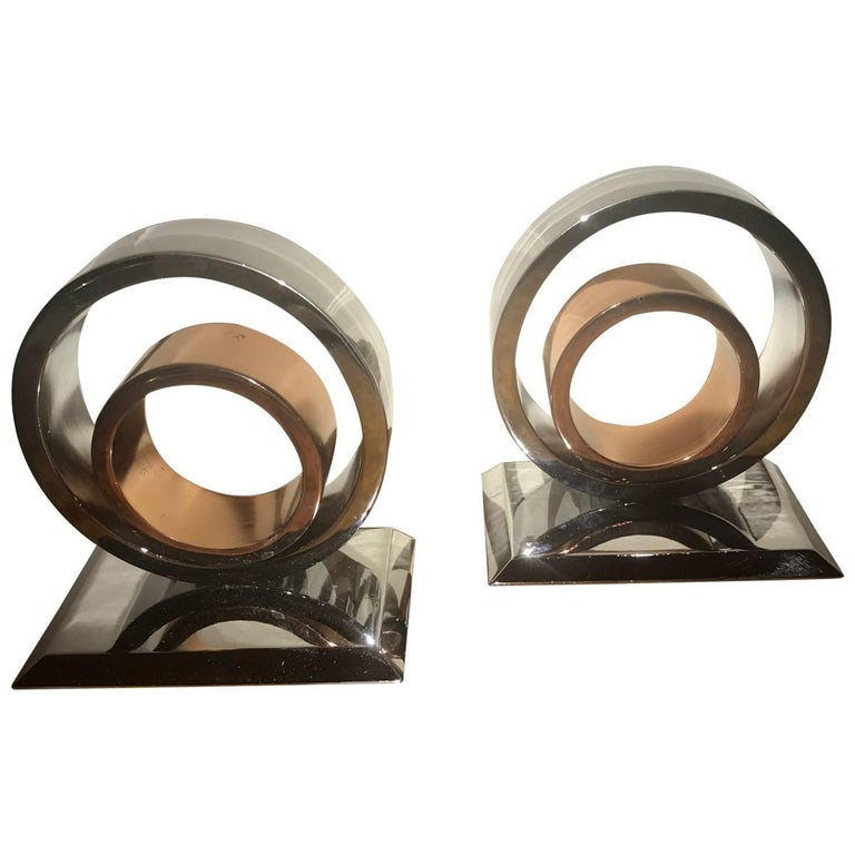Moderne Art Deco Industrial Bookends circa Chase