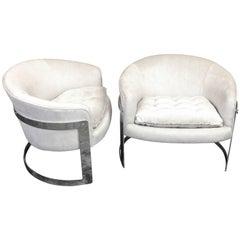 Pair of Milo Baughman Barrel Back Club Chairs