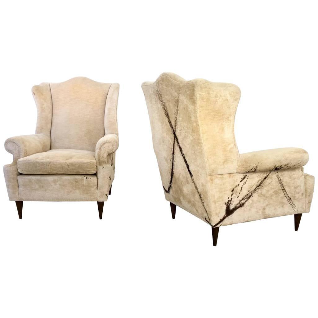 Pair of Unique Vintage Velvet Armchairs, Italy, 1950s