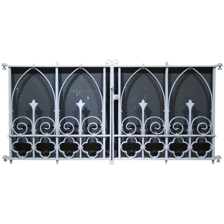 Pair of Antique Wrought and Cast Iron Church Gates