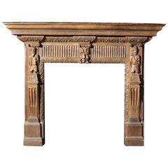Heavily Carved 19th Century Oak Chimneypiece