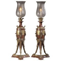 Rouge Marble and Bronze Candelabra by G. Servant, French, circa 1880