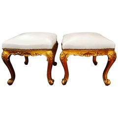 Glamorous Pair of French Giltwood and White Leather Stools