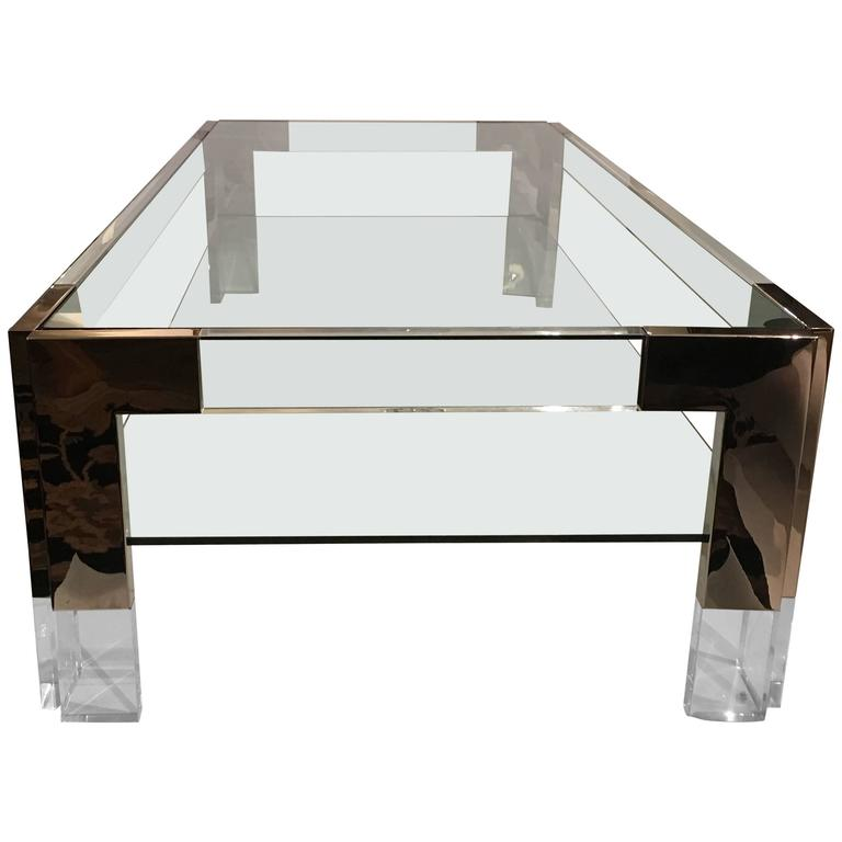 Spectacular Glass Lucite And Chrome Coffee Cocktail Table