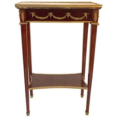 Elegant French Mahogany and Marble Side Table