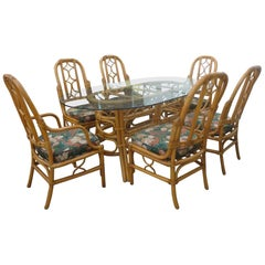1970s McGuire Style Rattan Dining Set, Six Chairs and Table