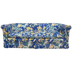 1970s Blue and Yellow Floral Motif Sofa by Highland House of Hickory