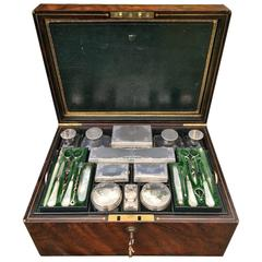 Mid-19th Century Travelling Box/ Vanity Case Silver tops.