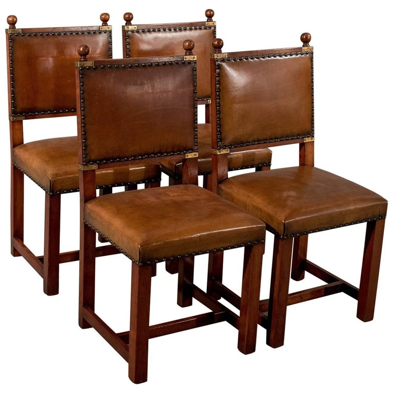 Antique Oak and Leather Set Four Dining Kitchen Chairs Comfy and Quality  For Sale - Antique Oak And Leather Set Four Dining Kitchen Chairs Comfy And