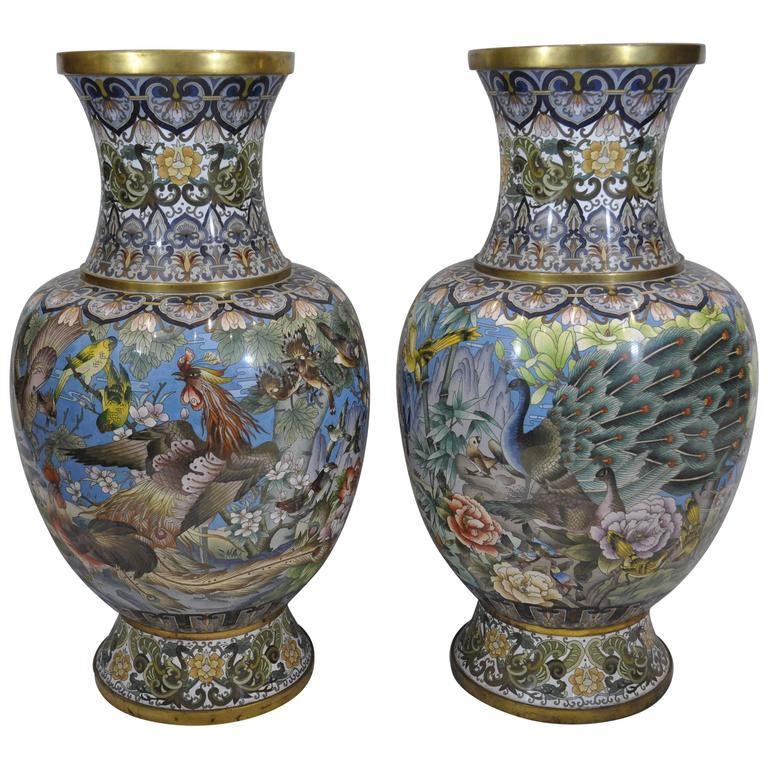 Pair of Early 20th Century Chinese Ormolu-Mounted Polychrome Cloisonné Vases For Sale