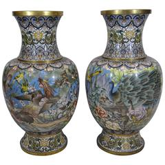 Pair of Early 20th Century Chinese Ormolu-Mounted Polychrome Cloisonné Vases
