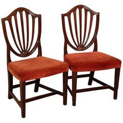 Pair of Wide Side Dining Shield Chairs English Georgian Hepplewhite, circa 1800