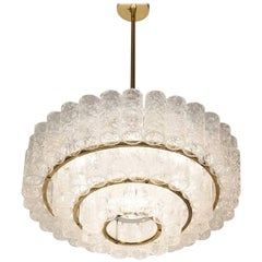 MidCentury Doria Murano Glass Brass Chandelier Pendant Light, 1960s