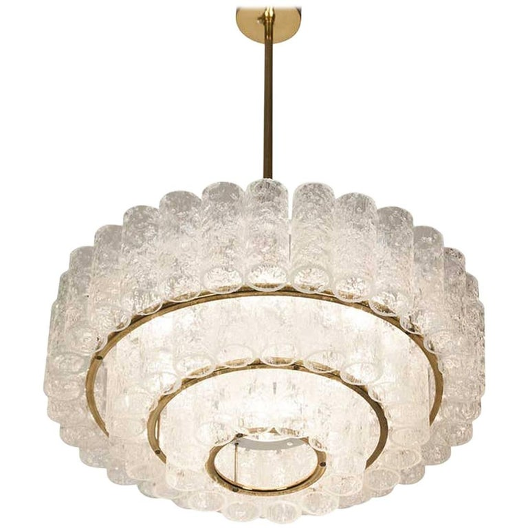MidCentury Doria Murano Glass Brass Chandelier Pendant Light