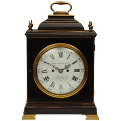 Fine and Very Original 18th Century Ebonized Bracket Clock with Enamel Dial