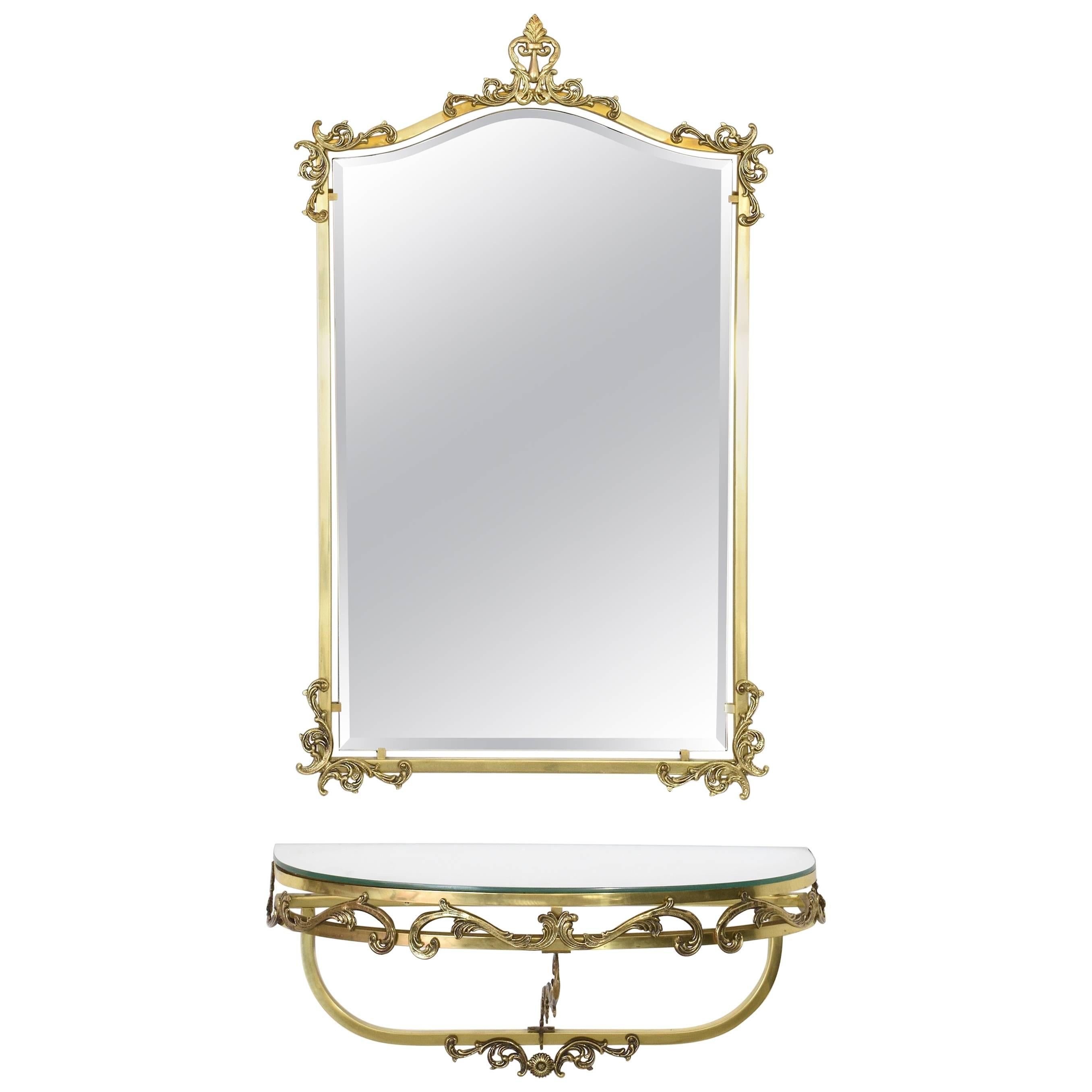 French Vintage Floating Brass Console and Wall Mirror, 1960