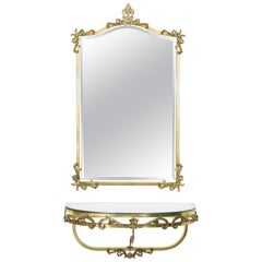 Neoclassical Floating Brass Console and Mirror, France