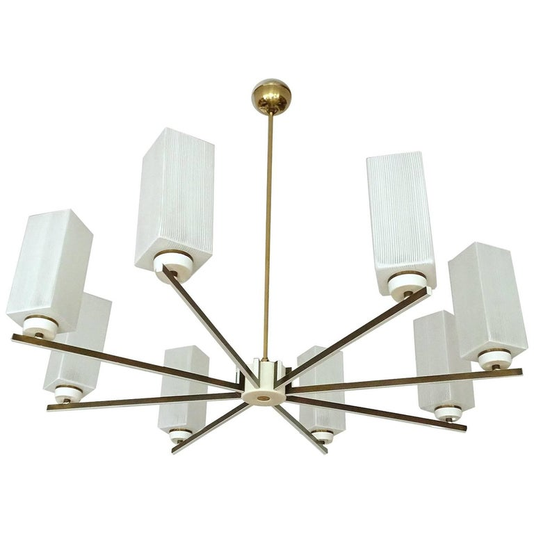 Large MidCentury Brass Glass Chandelier, Stilnovo Style