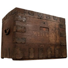 Small Oak Silver Chest Ironbound Storage Trunk English Victorian, circa 1850