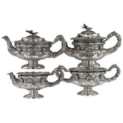 Georgian Solid Silver Warwick Tea and Coffee Set, Hennell II, circa 1820