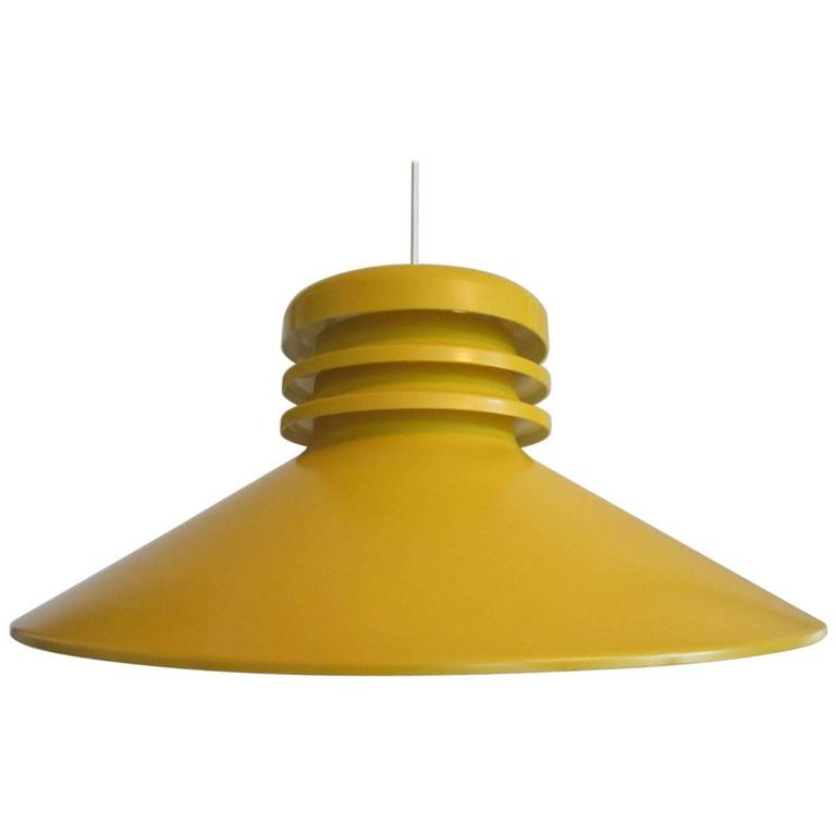 Vintage Yellow Pendant Lamp By Aris Finland, 1970s For