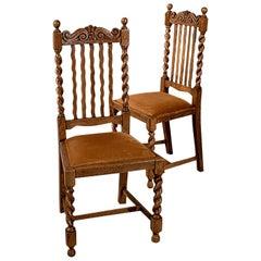 Pair of Oak Barley Twist Dining Side Chairs Quality Edwardian, circa 1910